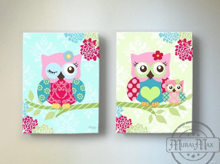 Owl Nursery Decor Owl Canvas Art Baby Girl Nursery Owl Pertaining To Girls Canvas Wall Art (Image 18 of 20)