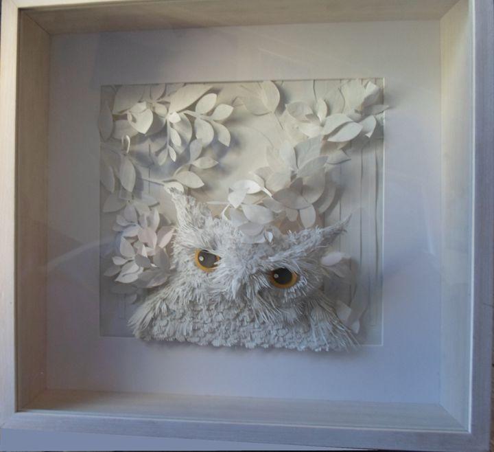 Owl Paper Sculpture 3D Framed – Hazel Buchan – Sculptures For Owl Framed Wall Art (Image 14 of 20)