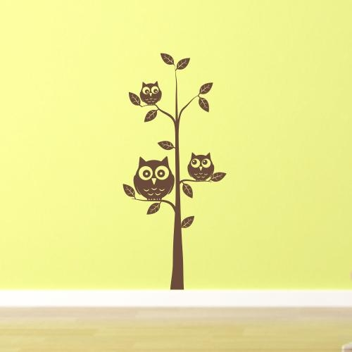 Owls In A Tree – Kids Nursery Room Wall Art Sticker – H521K Within Owl Wall Art Stickers (View 11 of 20)