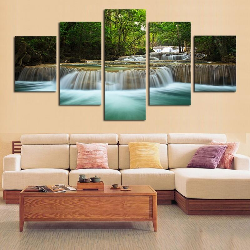 Paintings Wholesaler Tian7777777 Sells 5 Panel Waterfall Painting Intended For Waterfall Wall Art (View 6 of 20)