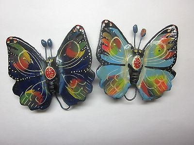 Pair 2 Vintage Ceramic Butterflies Wall Art Decorations Accents Pertaining To Ceramic Butterfly Wall Art (Image 17 of 20)