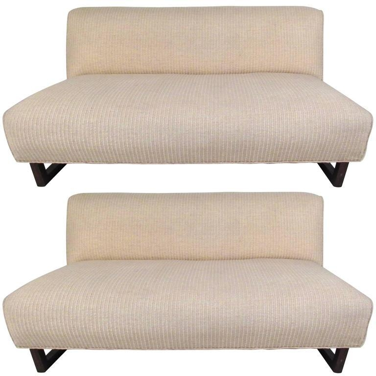 Pair Of Mid Century Modern Sled Leg Slipper Sofas For Sale At 1Stdibs For Slipper Sofas (Photo 8 of 20)