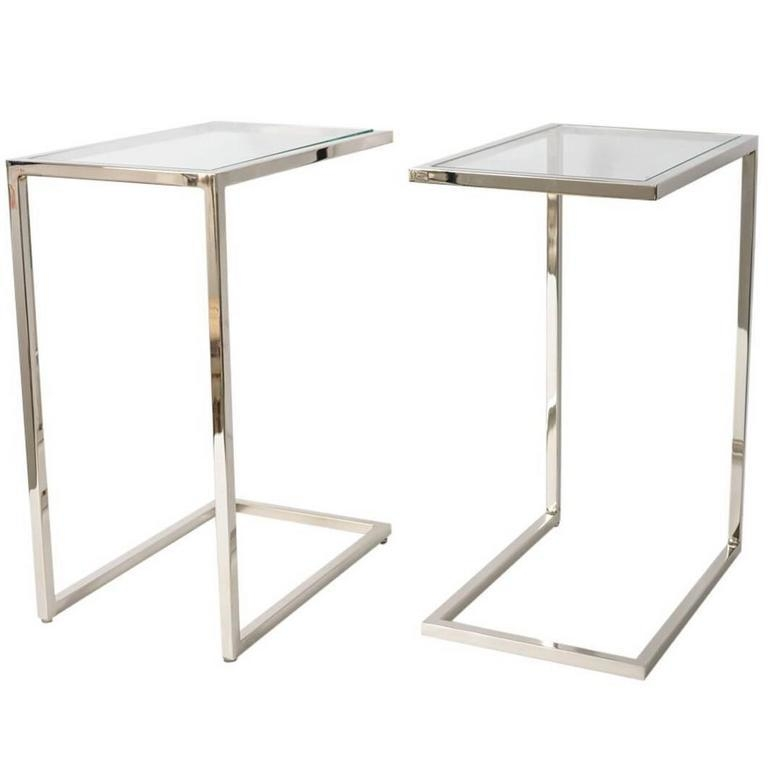 "Pair Of Milo Baughman ""thin Line"" Polished Chrome And Glass Side Pertaining To Chrome Sofa Tables (Image 17 of 20)"