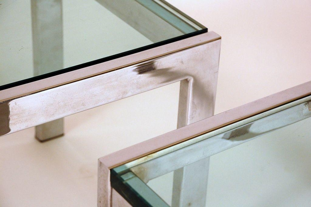 Pair Of Modernist Chrome And Thick Glass Side Tables For Sale At Intended For Chrome Sofa Tables (Image 18 of 20)