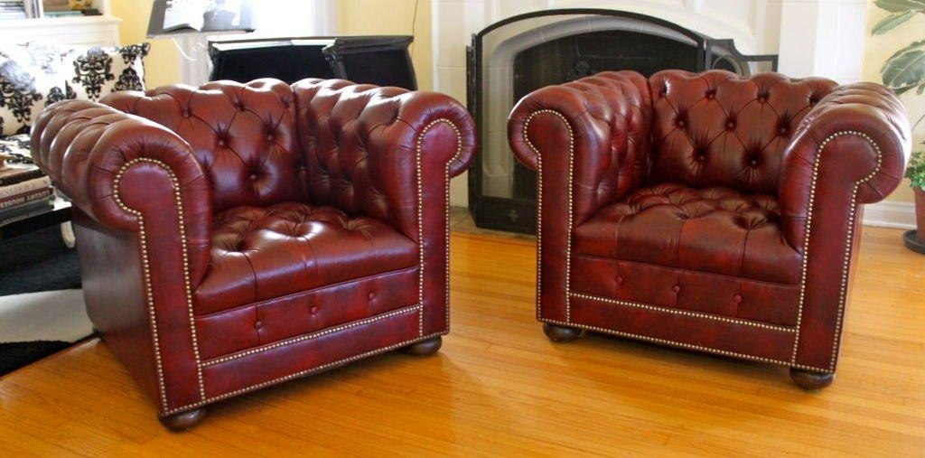 Pair Of Red Leather Chesterfield Chairs At 1Stdibs Throughout Red Chesterfield Chairs (Image 16 of 20)