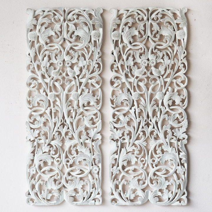 Pair Of Wall Art Panel Wood Carving Sculpture – Siam Sawadee Within Wood Carved Wall Art Panels (View 10 of 20)