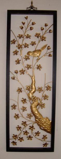 Pair Vintage Mid Century Asian Cut Metal Floral Wall Hangings Art With Asian Metal Wall Art (Image 13 of 20)