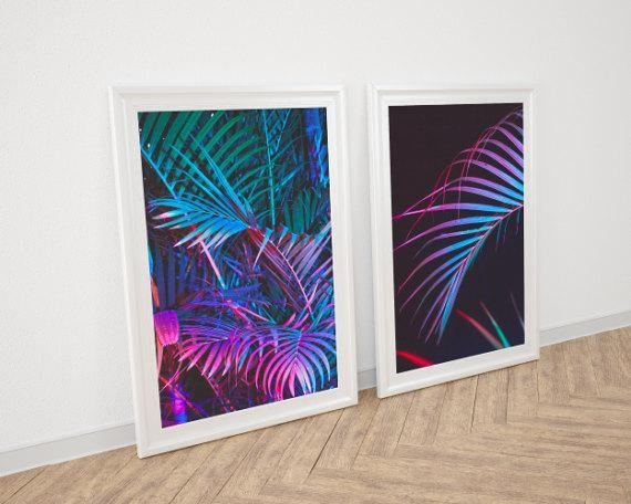 Palm Decor Palm Pink Print Double Poster Palm Leaf In Palm Leaf Wall Art (View 18 of 20)