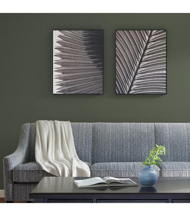 Palm Leaf Wall Art Black & White – Set Of 2 Pertaining To Palm Leaf Wall Art (View 9 of 20)