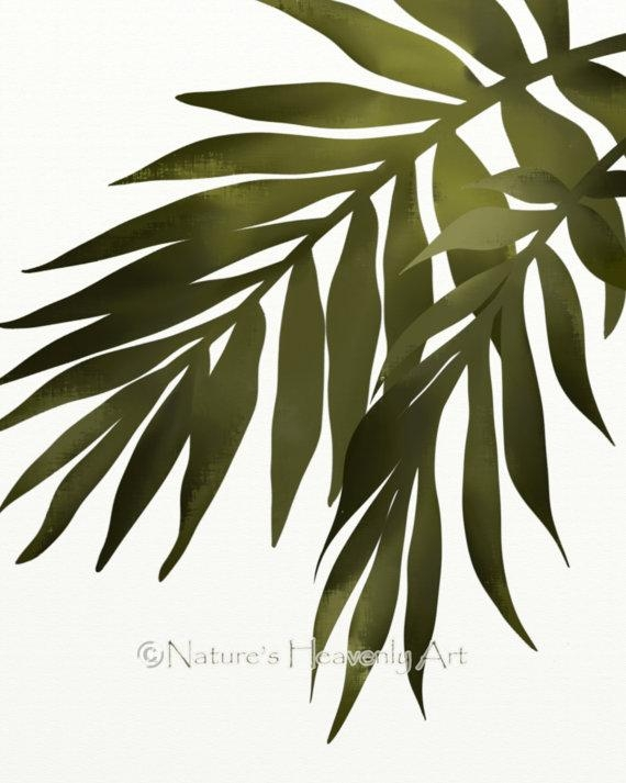 Palm Leaf Wall Art Print Tropical Decor 8 X 10 Print Green Pertaining To Palm Leaf Wall Decor (Image 11 of 20)