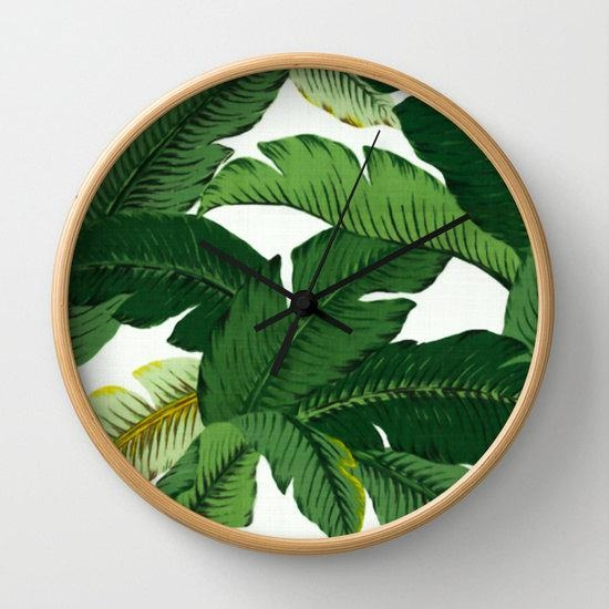 Palm Leaf Wall Clock Palm Leaves Print Clock Banana Leaf With Regard To Palm Leaf Wall Decor (Image 13 of 20)