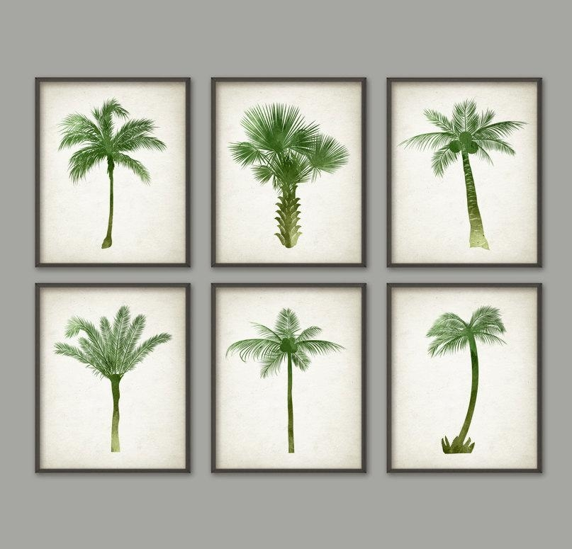 Palm Tree Botanical Wall Art Print Set Of 6 Modern Home With Wall Art Print Sets (View 6 of 20)