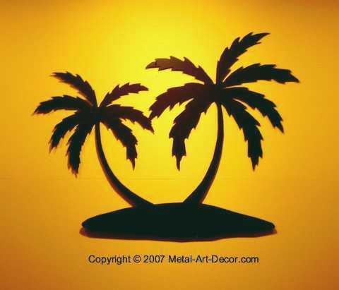 Palm Tree Island Tropical Beach Condo Wall Art Decor Within Palm Tree Metal Art (View 8 of 20)