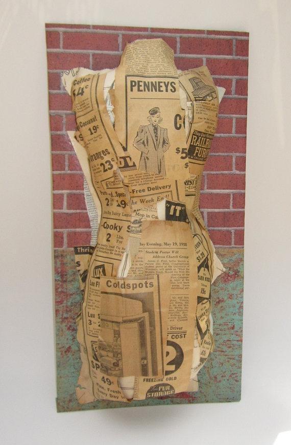 Paper Mache Dress Form Mannequin Wall Art Vintage Newspaper In Mannequin Wall Art (View 2 of 20)