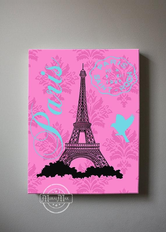 Paris Eiffel Tower Canvas Art Girl Room Decor Canvas Wall Pertaining To Girls Canvas Wall Art (View 6 of 20)
