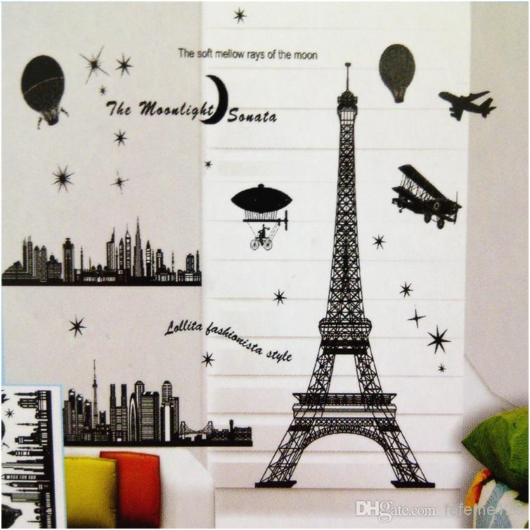 Paris Eiffel Tower Decoration Living Room Large Vinyl Wall Art Within Paris Vinyl Wall Art (Image 10 of 20)