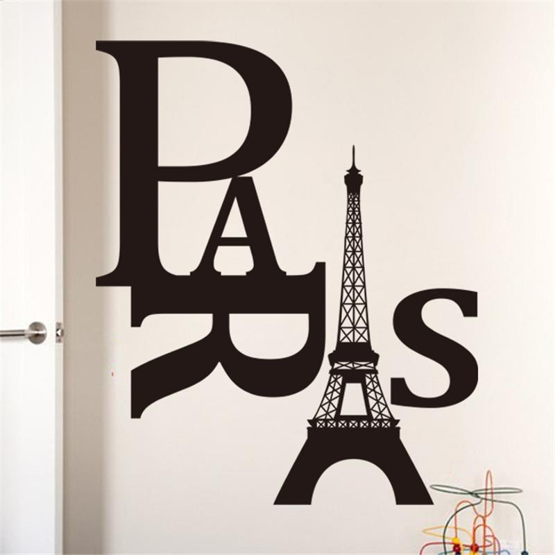 Paris Eiffel Tower Quotes Wall Stickers Decorations  (Image 11 of 20)