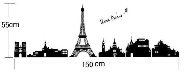 Paris Eiffel Tower Wall Decal Paris Vinyl Wall Decal Letters Paris Intended For Black And White Paris Wall Art (Image 16 of 20)