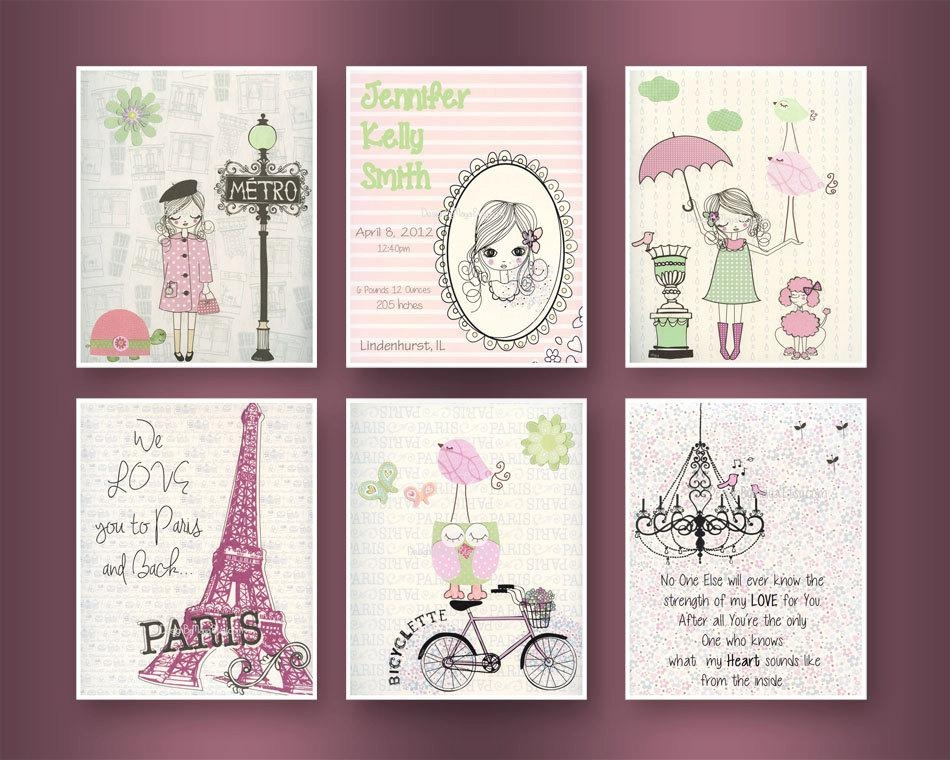 Paris Nursery Art Baby Girl Nursery Wall Art Paris Metro Within Shabby Chic Wall Art (Image 11 of 20)