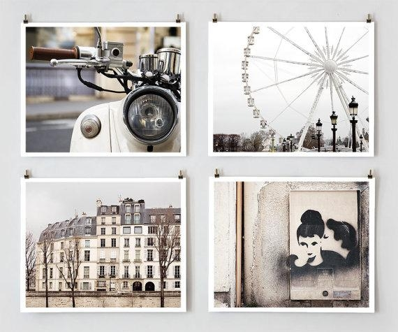 Paris Photography Gallery Wall Prints Fine Art Photography Regarding Large White Wall Art (View 5 of 20)