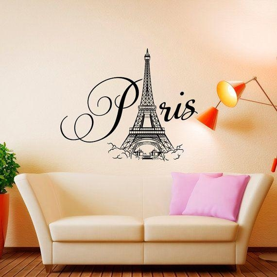 Paris Wall Decal Vinyl Lettering Paris Bedroom Decorponydecal Throughout Paris Vinyl Wall Art (Image 15 of 20)