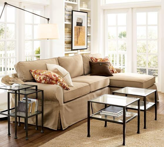 Pb Basic Slipcovered Sofa With Chaise Sectional | Pottery Barn Regarding Slipcovered Chaises (Image 12 of 20)