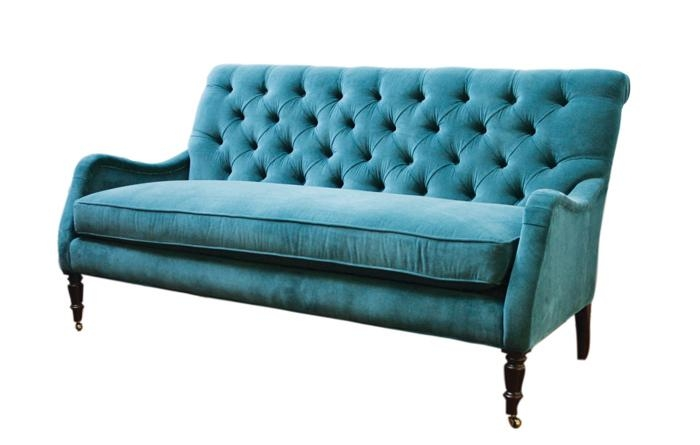 Peacock Blue Velvet Tufted Sofa, $495, Available In The New York For Blue Velvet Tufted Sofas (View 11 of 20)