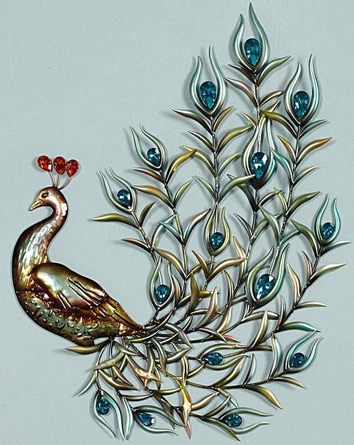 Peacock Metal Wall Art Neat Diy On Large Canvas In