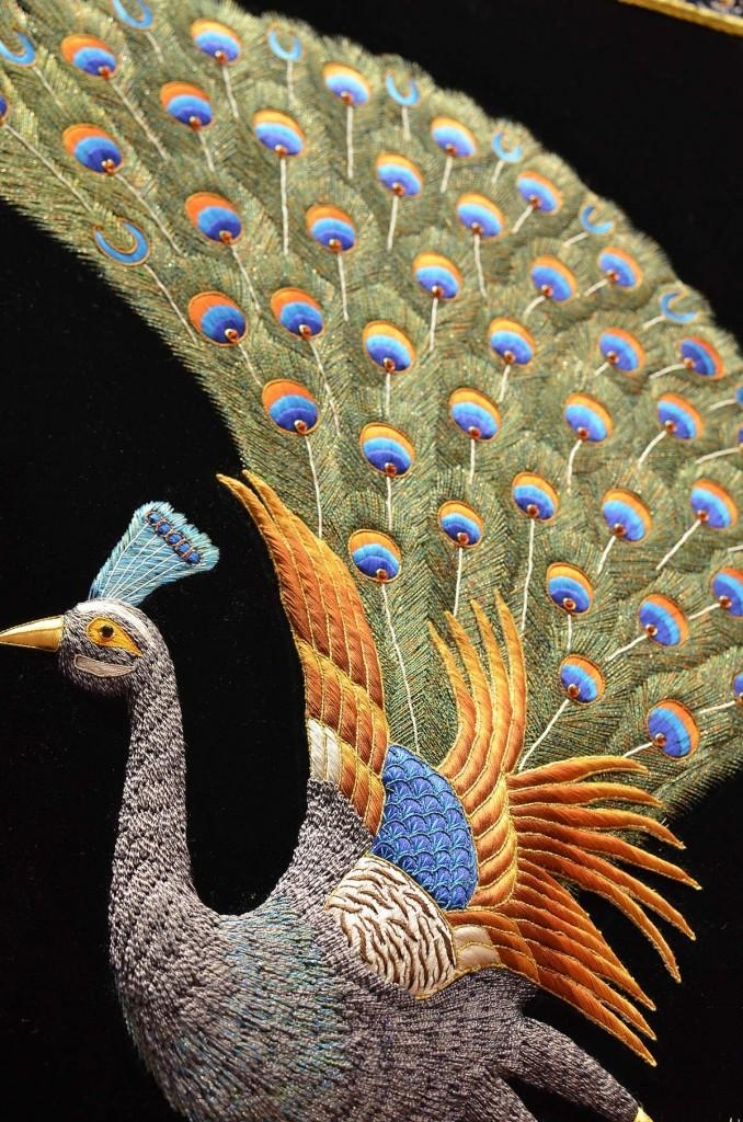 Peacock Wall Art Decorative Panel Jewel Art Tapestry Or Wall Within Jeweled Peacock Wall Art (Image 16 of 20)