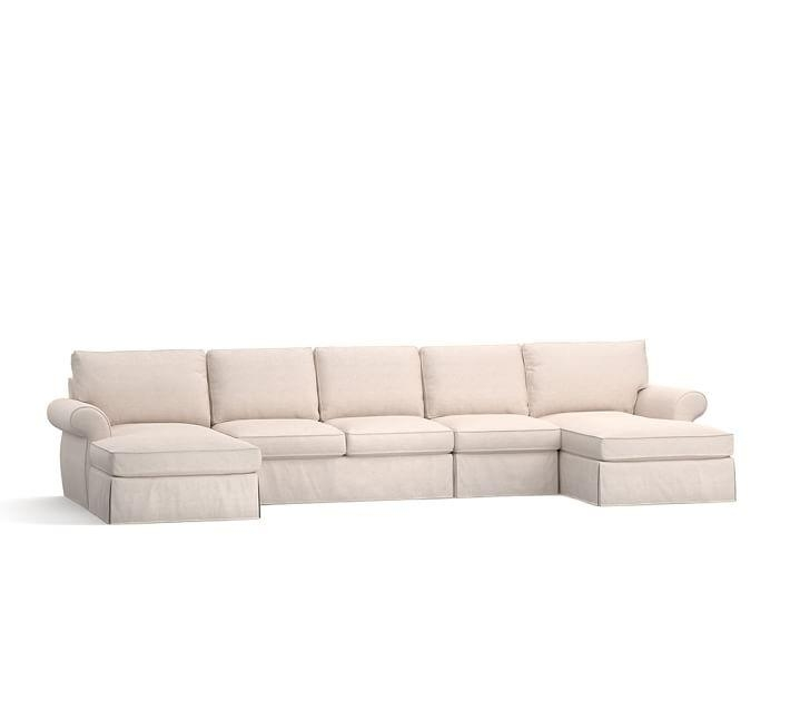 Pearce Slipcovered 4 Piece Double Chaise Sectional | Pottery Barn Throughout Slipcovered Chaises (Image 13 of 20)