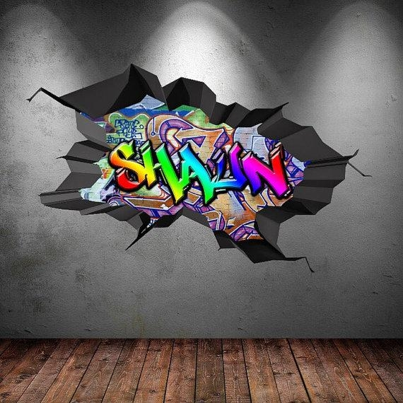 Personalised Custom Graffiti Name Wall Art Stickers Decor For Intended For Graffiti Wall Art Stickers (View 8 of 20)