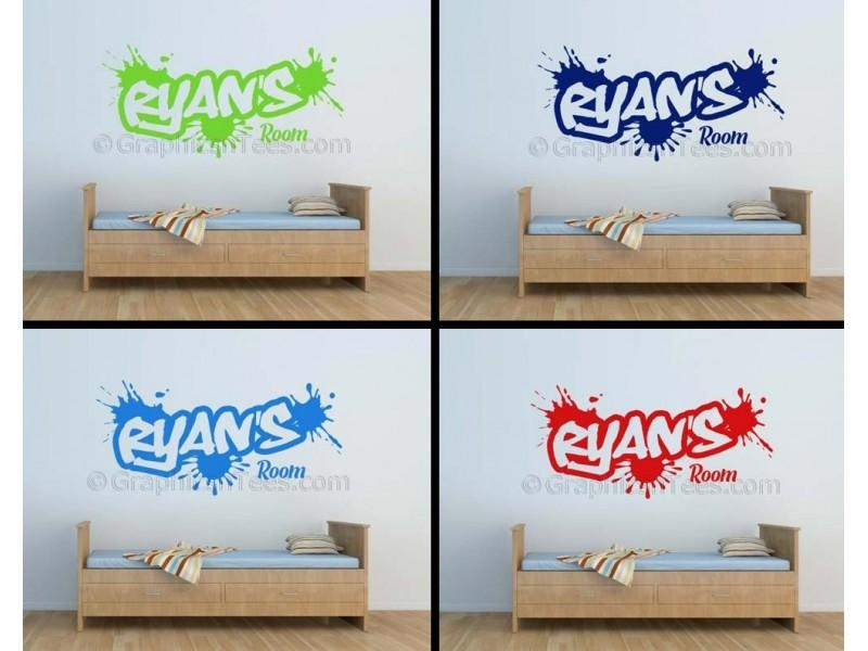Personalised Graffiti Wall Stickers, Boy Girls Bedroom Playroom Within Playroom Wall Art (Image 14 of 20)