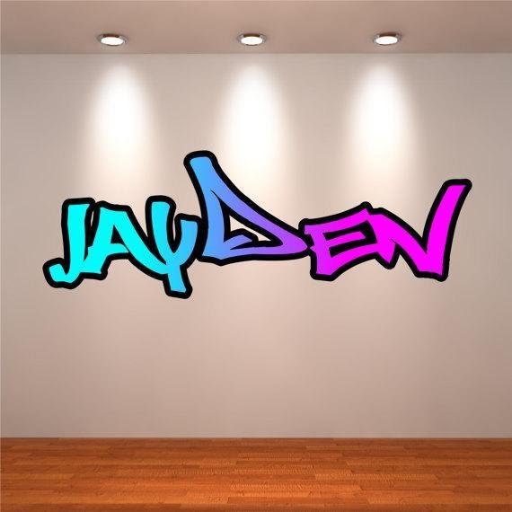 Personalised Wall Decal Graffiti Name Wall Art Sticker In Graffiti Wall Art Stickers (View 2 of 20)