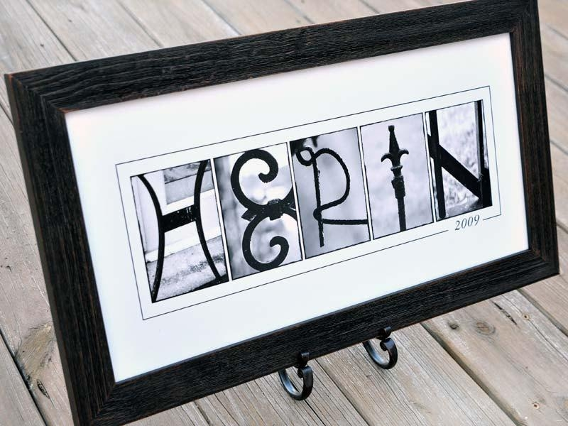 Personalized Last Name Wall Decor In B&w Alphabet Photograph Pertaining To Last Name Wall Art (Image 19 of 20)
