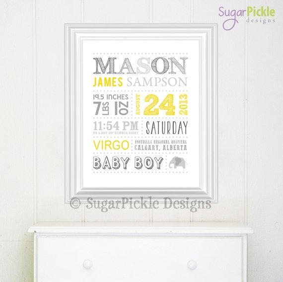 Personalized Nursery Art // Wall Art // Birth Announcement // With Regard To Personalized Nursery Wall Art (Image 12 of 20)