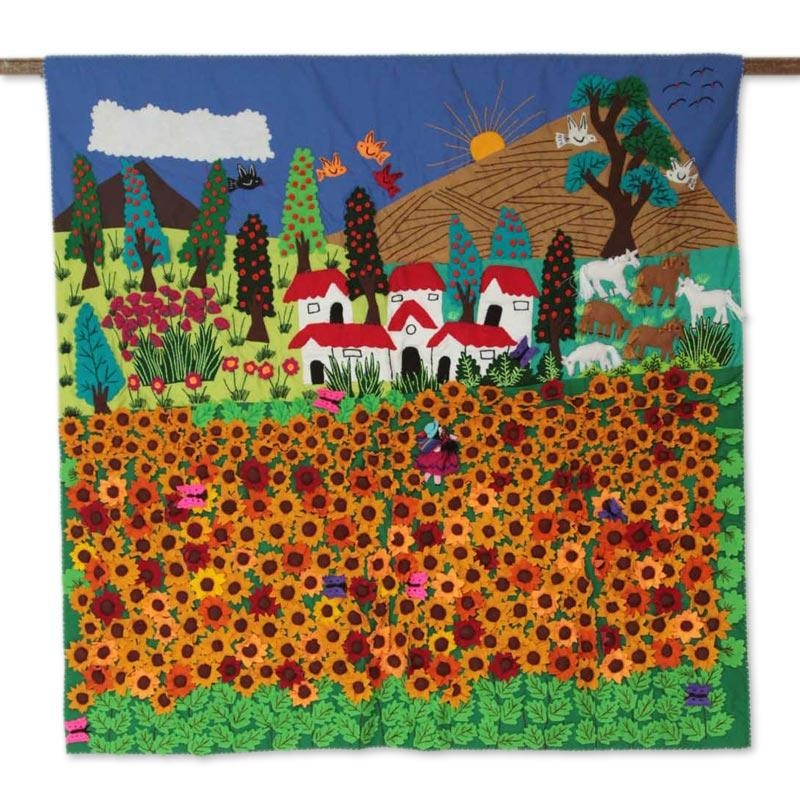 Peruvian Handmade Applique Wall Hanging – Ancash Fields Of Intended For Peruvian Wall Art (Image 14 of 20)