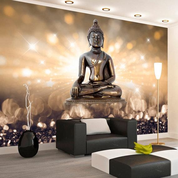 Photo Wallpaper Wall Murals Non Woven 3D Modern Art Buddha Intended For 3D Buddha Wall Art (Image 14 of 20)
