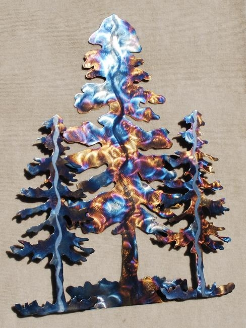 Pine Tree Metal Wall Art Sculpture – 3 Trees – $ (Image 14 of 20)