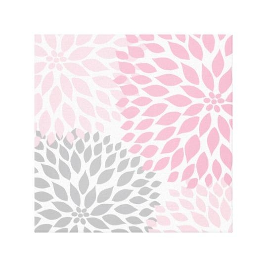 Pink And Gray Dahlia Square Wall Art | Zazzle In Pink And Grey Wall Art (Image 15 of 20)