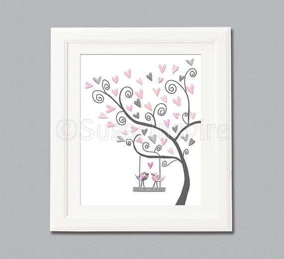 Pink And Grey Nursery Wall Art Nursery Art Print Unframed Intended For Pink And Grey Wall Art (Image 16 of 20)