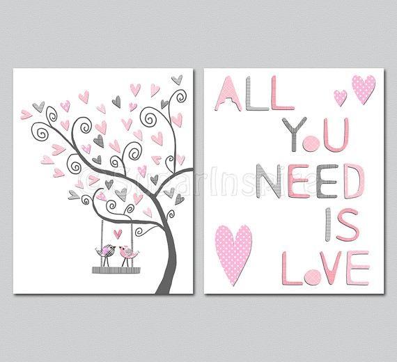 Pink And Grey Nursery Wall Art Nursery Art Print Unframed With Regard To Pink And Grey Wall Art (View 4 of 20)