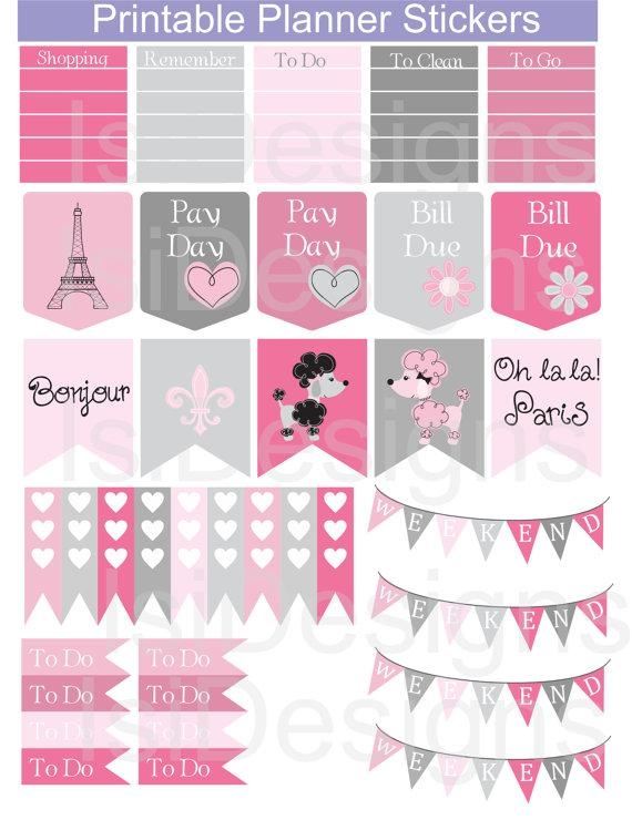 Pink And Grey Printable Planner Stickers / Paris Theme Inside Paris Themed Stickers (View 8 of 20)