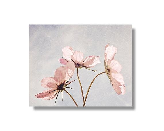 Pink Cosmos Flower Canvas Wall Art Pale Blue Pale Pink Within Pink Flower Wall Art (View 10 of 20)