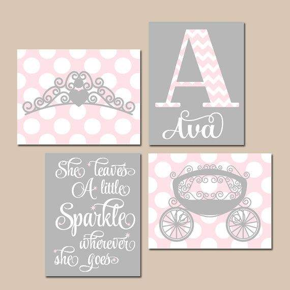 Pink Gray Nursery Art Princess Wall Art Baby Girl Princess For Princess Crown Wall Art (Image 12 of 20)
