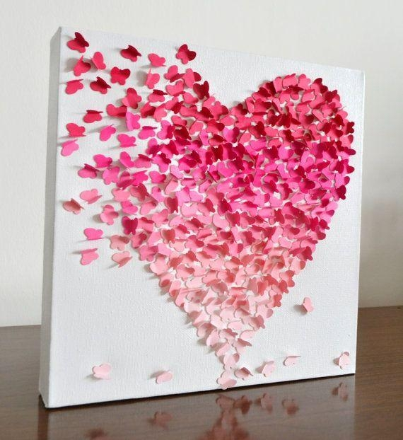Pink Ombre Butterfly Heart/ 3D Butterfly Wall Art / Nursery Decor Inside Pink Butterfly Wall Art (Image 17 of 20)