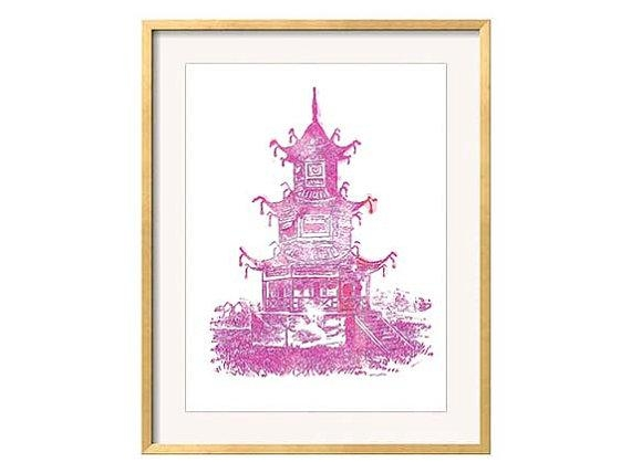 Pink Pagoda Chinoiserie Pagoda Wall Art Pink Wall Art For Chinoiserie Wall Art (Image 16 of 20)