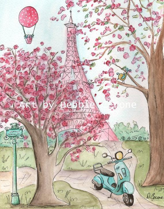 Pink Paris Eiffel Tower Wall Art Paris Decor French Nursery Within Paris Theme Nursery Wall Art (View 17 of 20)