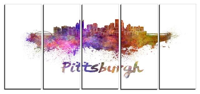 "Pittsburgh Skyline"" Cityscape Glossy Metal Wall Art – Asian Throughout Asian Metal Wall Art (Image 14 of 20)"