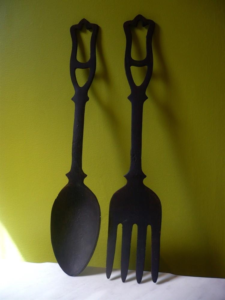 Placed Giant Spoon And Fork Wall Decor — Home Design Stylinghome Pertaining To Big Spoon And Fork Decors (Image 17 of 20)