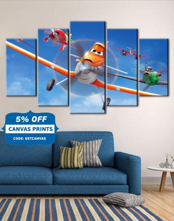 Planes Planes Fire & Rescue Art Kids Room Disney Canvas Art Throughout Disney Canvas Wall Art (View 9 of 20)